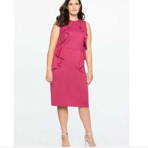 Eloquii Fuchsia Pink Ruffle Sheath Dress